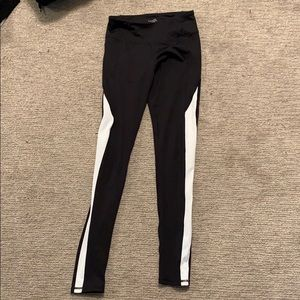 black leggings with white stripe